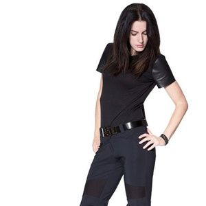 Suzi Roher Leather Sleeve Tee in Black